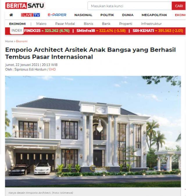 Ulasan Media BERITASATU.com - Emporio Architect, Arsitek Anak Bangsa yang berhasil Tembus Pasar Internasional