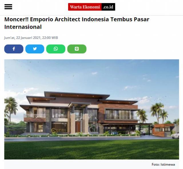 Ulasan Media WartaEkonomi.co.id - Moncer!! Emporio Architect Indonesia Tembus Pasar Internasional