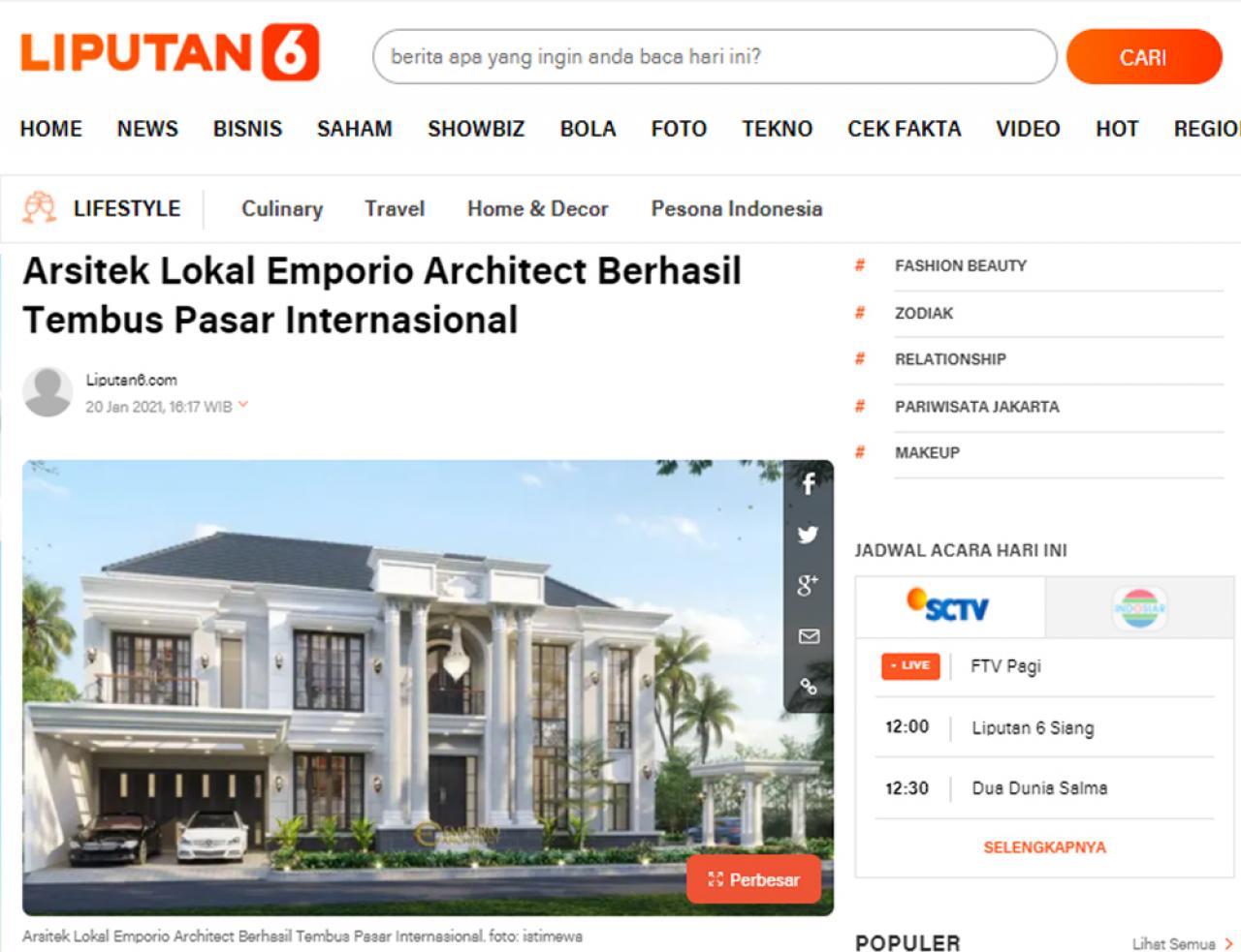 Ulasan Media LIPUTAN6.com - Arsitek Lokal Emporio Architect Berhasil Tembus Pasar Internasional