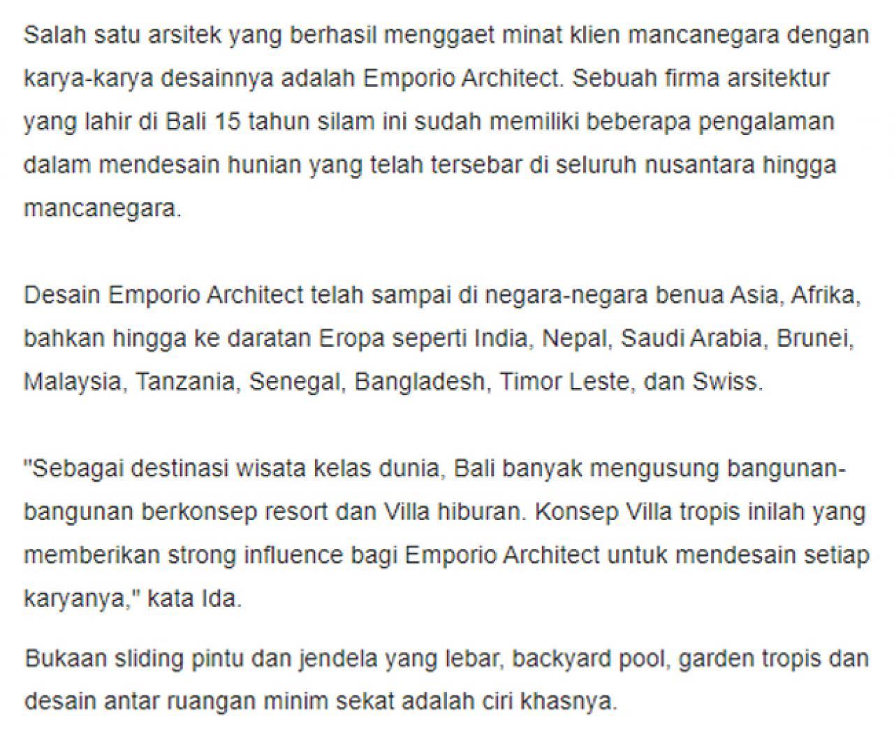 Ulasan Media SINDONEWS.com - Emporio Architect, Arsitek Anak Bangsa yang Berhasil Tembus Pasar Internasional 2 2