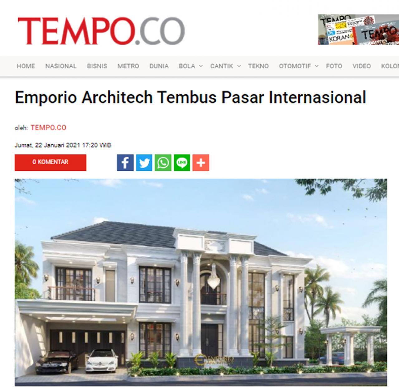 Ulasan Media TEMPO.co - Emporio Architect Tembus Pasar Internasional
