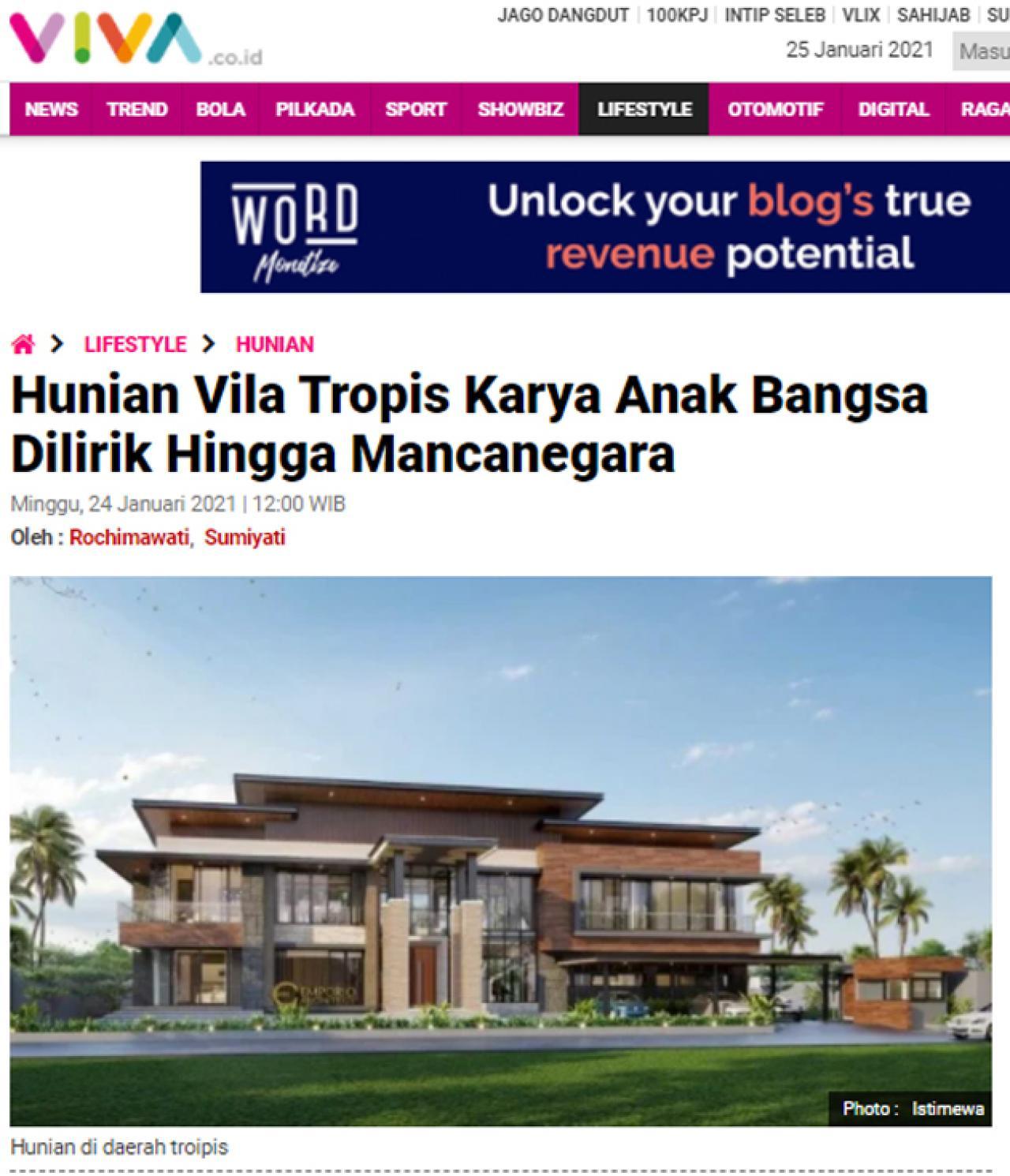 Ulasan Media VIVA.co.id - Hunian Vila Tropis Karya Anak Bangsa Dilirik Hingga Mancanegara