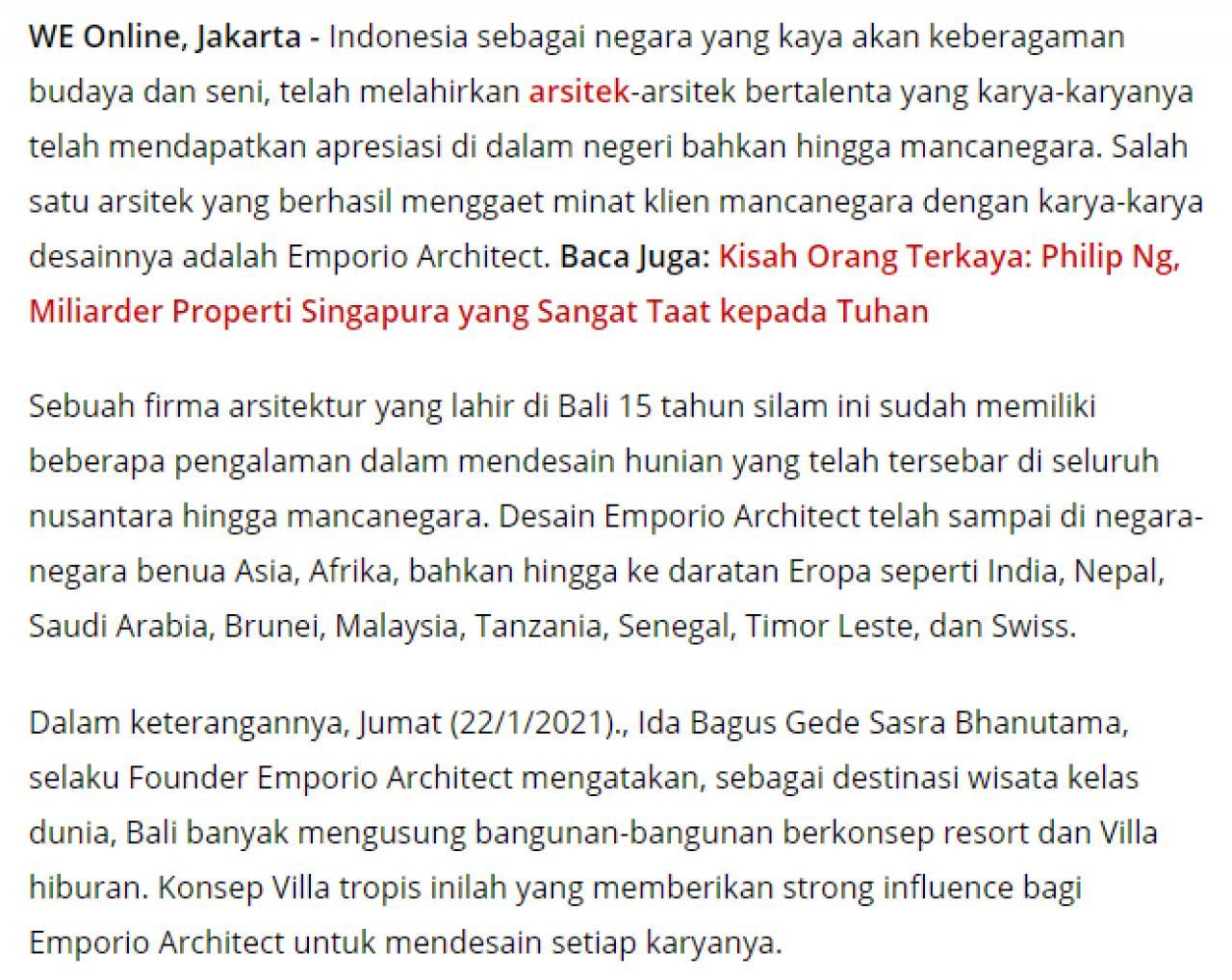 Ulasan Media WartaEkonomi.co.id - Moncer!! Emporio Architect Indonesia Tembus Pasar Internasional 1 1