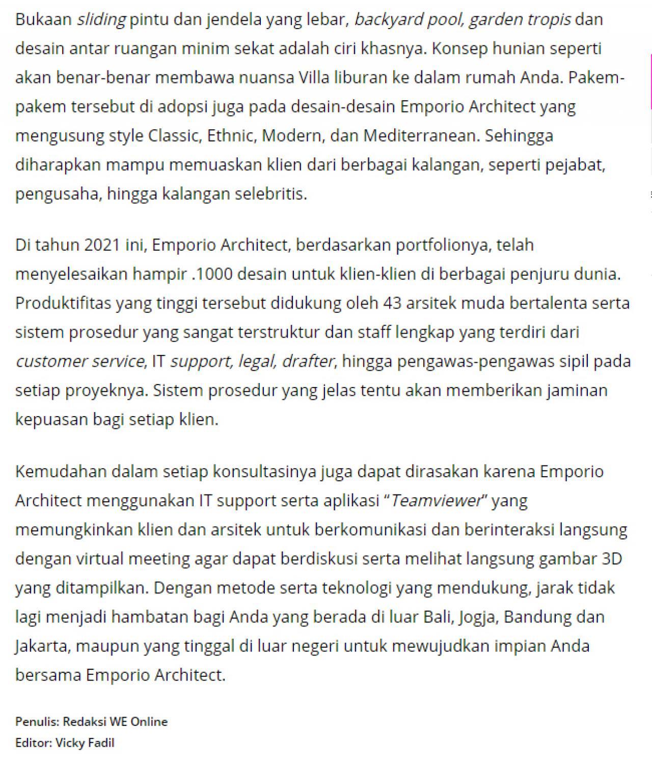 Ulasan Media WartaEkonomi.co.id - Moncer!! Emporio Architect Indonesia Tembus Pasar Internasional 2 2