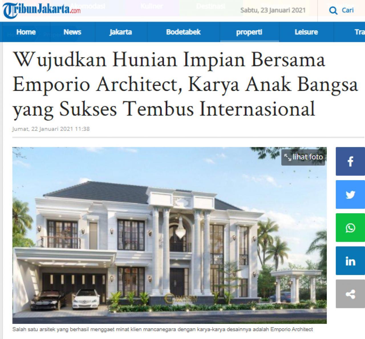 Ulasan Media TribunJakarta.com - Wujudkan Hunian Impian Bersama Emporio Architect, Karya Anak Bangsa yang Sukses Tembus Internasional