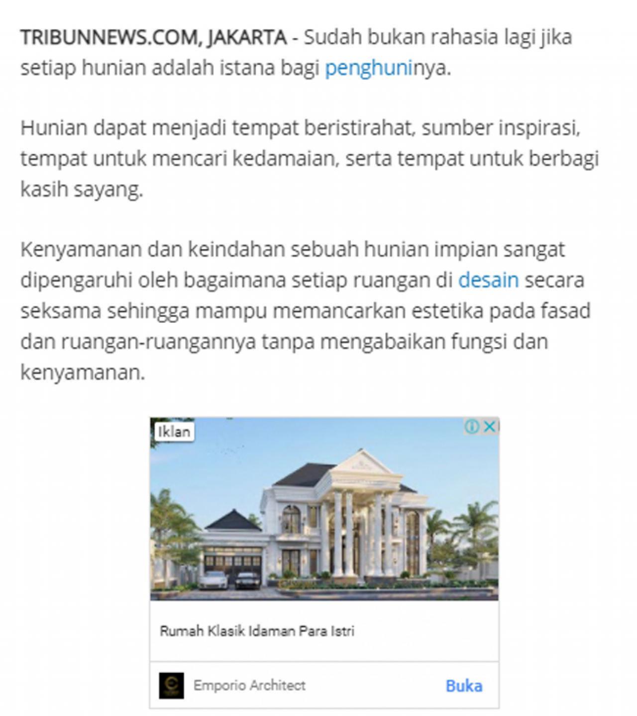 Ulasan Media TribunJakarta.com - Wujudkan Hunian Impian Bersama Emporio Architect, Karya Anak Bangsa yang Sukses Tembus Internasional 1 1