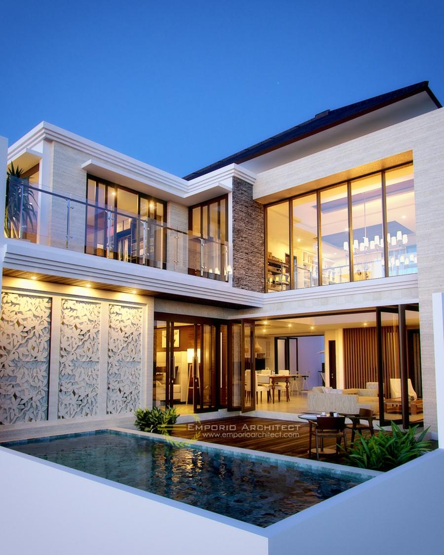 Desain Rumah Mewah 1 dan 2 Lantai Style Villa Bali Modern di Jakarta Jasa Arsitek