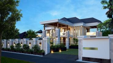 Desain Rumah 2 Lantai Berpilar Style Bali
