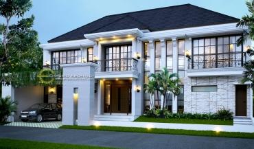 Desain Rumah Mewah dan Luas 2 Lantai Style Classic Tropis di Jakarta