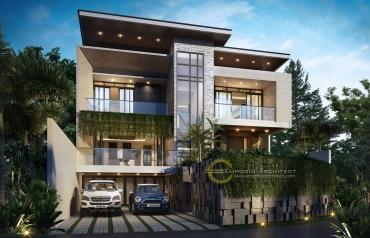 Desain Rumah Mewah Style Modern Tropis 2 Lantai atau Lebih di Jakarta