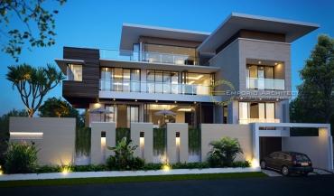 Desain Rumah Modern Tropis dengan Banyak Unsur Kaca