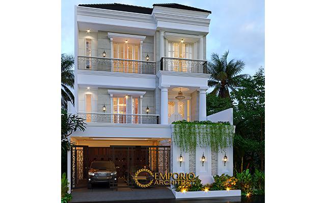 Desain Rumah Classic 3 Lantai Ibu Dintan di  Jakarta Utara