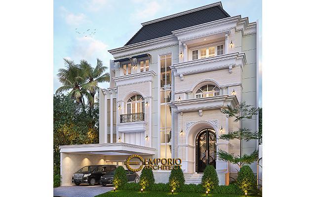 Desain Rumah Klasik 3.5 Lantai Ibu Leni di  Jakarta