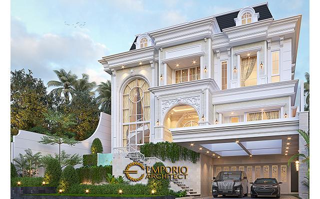 Desain Rumah Klasik 4 Lantai Ibu Agustina di  Sentul City, Bogor, Jawa Barat