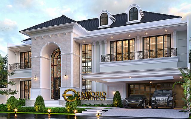 Desain Rumah Klasik Mediteran 2 Lantai Bapak Martua Sinaga di  Jakarta