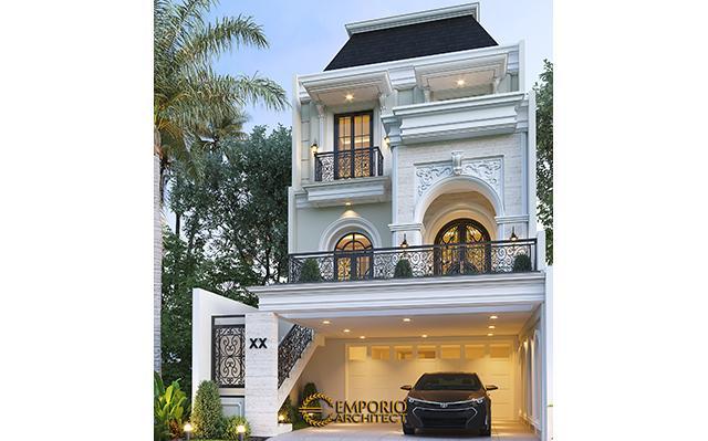Desain Rumah Klasik Modern 3 Lantai Ibu Happy di  Jakarta Selatan