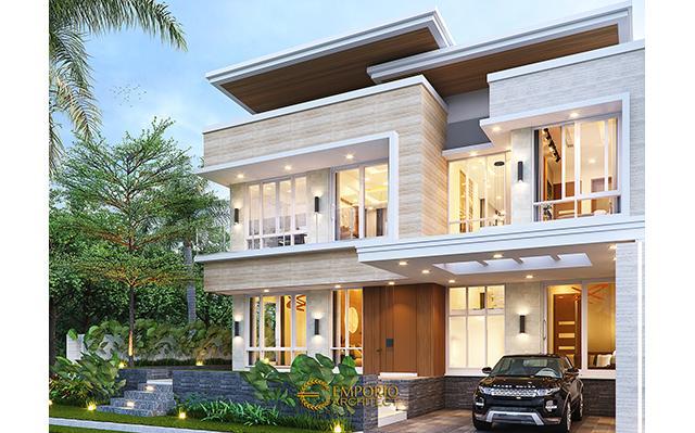 Desain Rumah Modern 2 Lantai Ibu Liza di  Batam