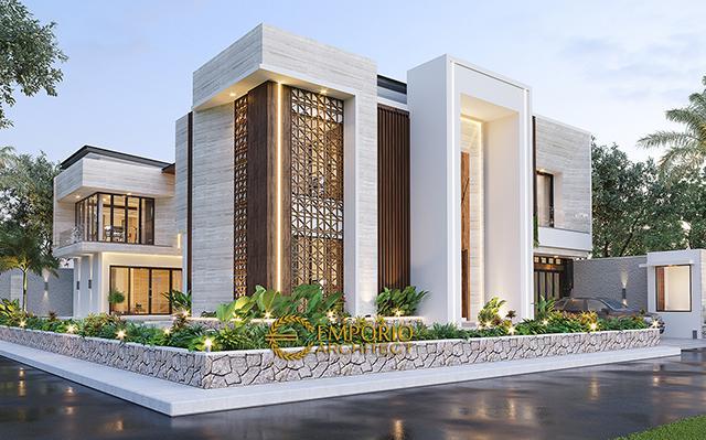 Desain Rumah Modern 2 Lantai Ibu Novi di  Palembang