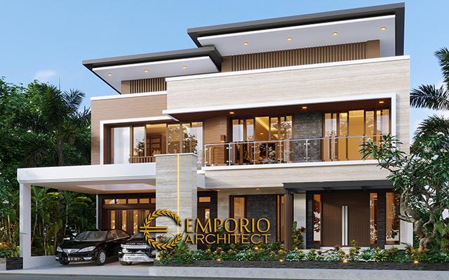 Desain Rumah Modern 2 Lantai Bapak Mikhael Tri Sutrisno di  Pematang Siantar, Sumatera Utara