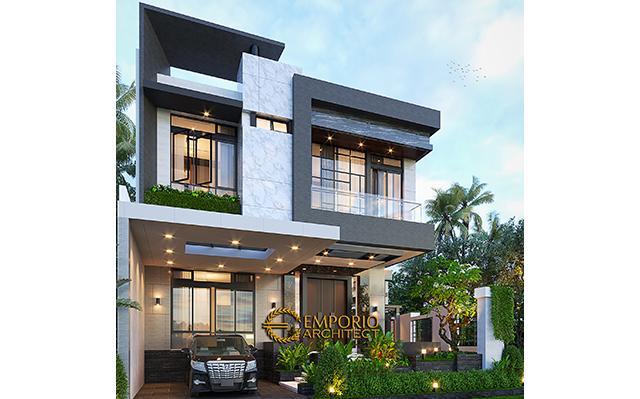 Desain Rumah Modern 2.5 Lantai Ibu Nana di  Jakarta