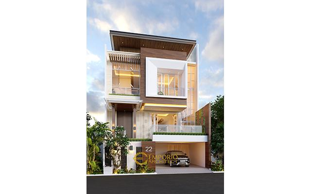 Desain Rumah Modern 3.5 Lantai Ibu Meimei di  Jakarta