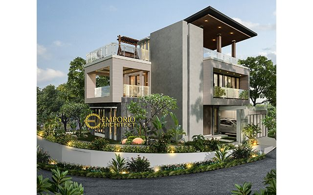 Desain Rumah Hook Modern 3 Lantai Bapak Andi Mulyandi di  Cimahi, Bandung