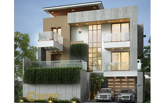 Desain Rumah Modern 3 Lantai Ibu Istia di  Bandung