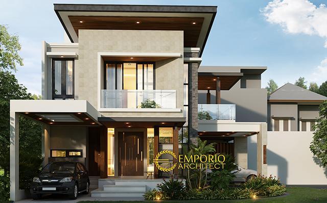 Desain Rumah Hook Modern 3 Lantai Bapak Dian di  Cibubur, Jakarta Timur