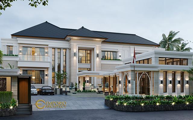 Desain Rumah Classic 2 Lantai Ibu Diana di  Cibubur, Jakarta Timur