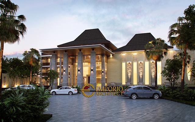Desain Hotel Arlindo Style Villa Bali 4 Lantai di  Puncak Bogor