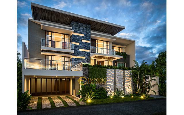 Desain Rumah Modern 3 Lantai Bapak Eko Gindo di  Cibubur, Jakarta