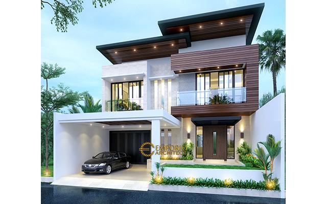 Desain Rumah Modern 2 Lantai Ibu Anisa di  Jatibening, Bekasi