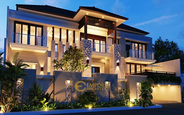 Desain Rumah Villa Bali 2 Lantai Ibu Dewi Ariyanti di  Pamulang, Banten