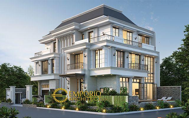Desain Rumah Hook Classic 3 Lantai Bapak Liu di  Jakarta Barat
