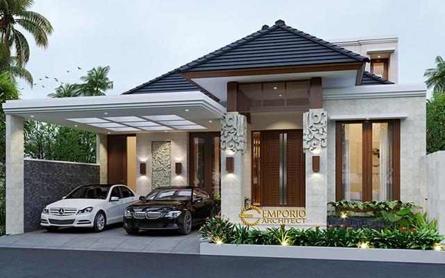 Desain Rumah Villa Bali 1.5 Lantai Bapak Zulkarnaen di  Jakarta