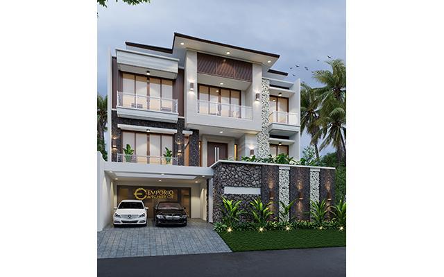 Desain Rumah Modern 2.5 Lantai Ibu Elisabeth di  Jakarta