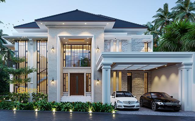 Desain Rumah Hook Classic Tropis 2 Lantai Ibu Indah di  Jakarta