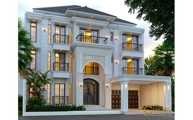 Desain Rumah Classic 3 Lantai Ibu Ines di  Jakarta