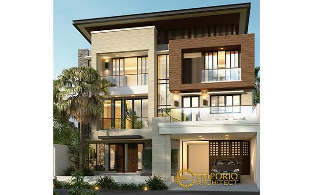 Desain Rumah Modern Tropis 3 Lantai Ibu Niken di  Jakarta Selatan