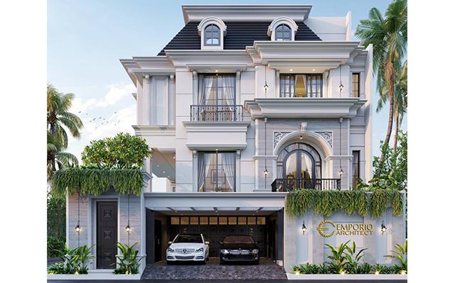 Desain Rumah Hook Mediteran 3.5 Lantai Ibu Olive di  Jakarta Selatan