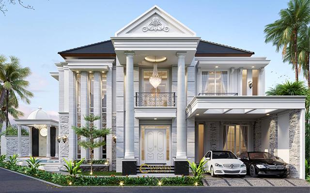 Desain Rumah Hook Classic 2 Lantai Bapak Biladil di  Jakarta Timur