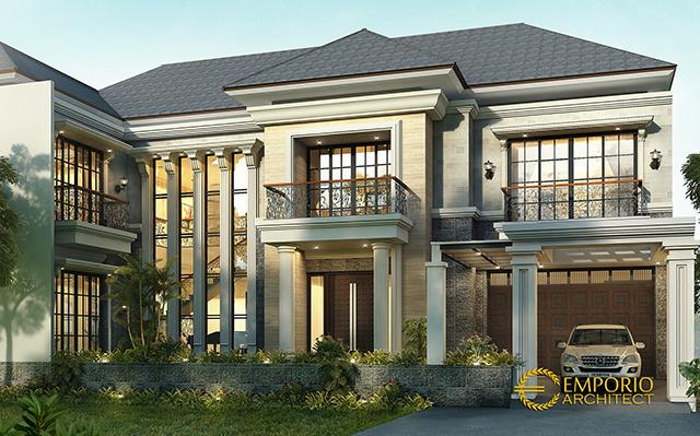 Desain Rumah Classic 2 Lantai Ibu Evi di  Jakarta Timur