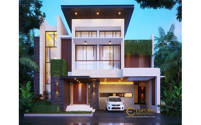 Desain Rumah Modern 2 Lantai Ibu Johana di  Jatibening, Bekasi
