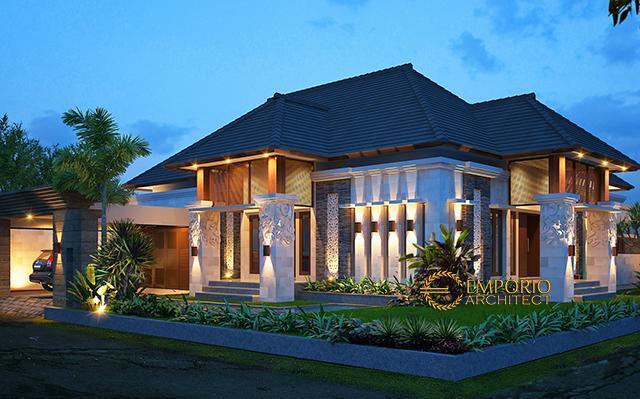 Desain Rumah Hook Villa Bali 1 Lantai Bapak Suharyoso II di  Bontang, Kalimantan Timur