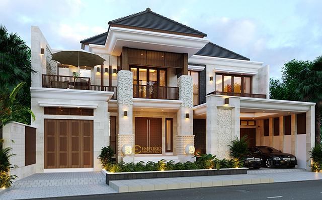 Desain Rumah Villa Bali 2 Lantai Ibu Putri di  Makassar