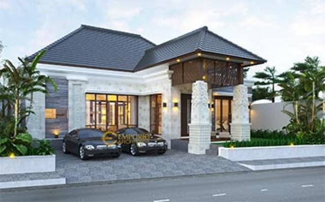 Desain Rumah Villa Bali 1 Lantai Ibu Pongky di  Malang