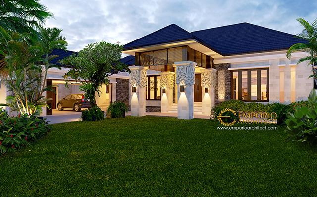 Desain Rumah Villa Bali 1 Lantai Ibu Zahara di  Palembang