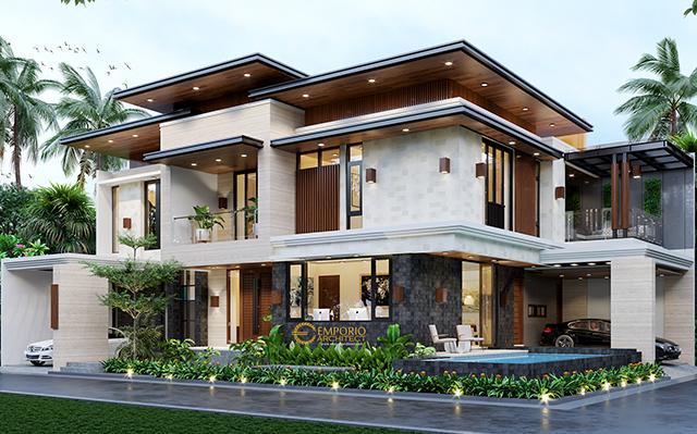 Desain Rumah Hook Modern 2 Lantai Ibu Irma di  Pamulang, Tangerang