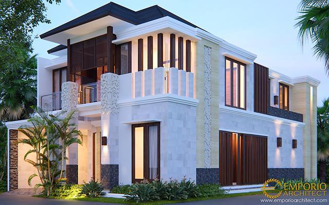 Desain Rumah Hook Villa Bali 2 Lantai Bapak Adi di  Pondok Aren, Jakarta