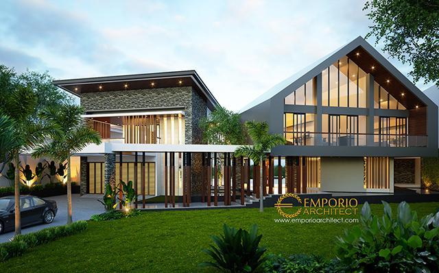 Desain Villa II Modern 2 Lantai Bapak Jafar di  Purwakarta
